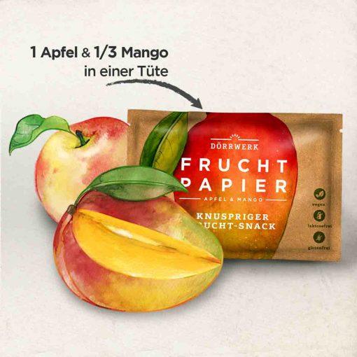 Dörrwerk Fruchtpapier Mango & Apfel Pocket